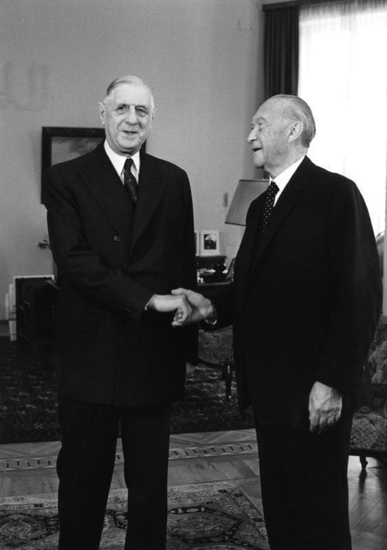 Charles de Gaulle und Konrad Adenauer 1958.